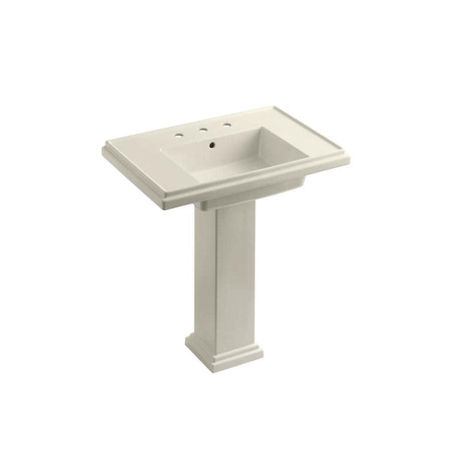 KOHLER Tresham 34.625-in H Almond Fire Clay Pedestal Sink