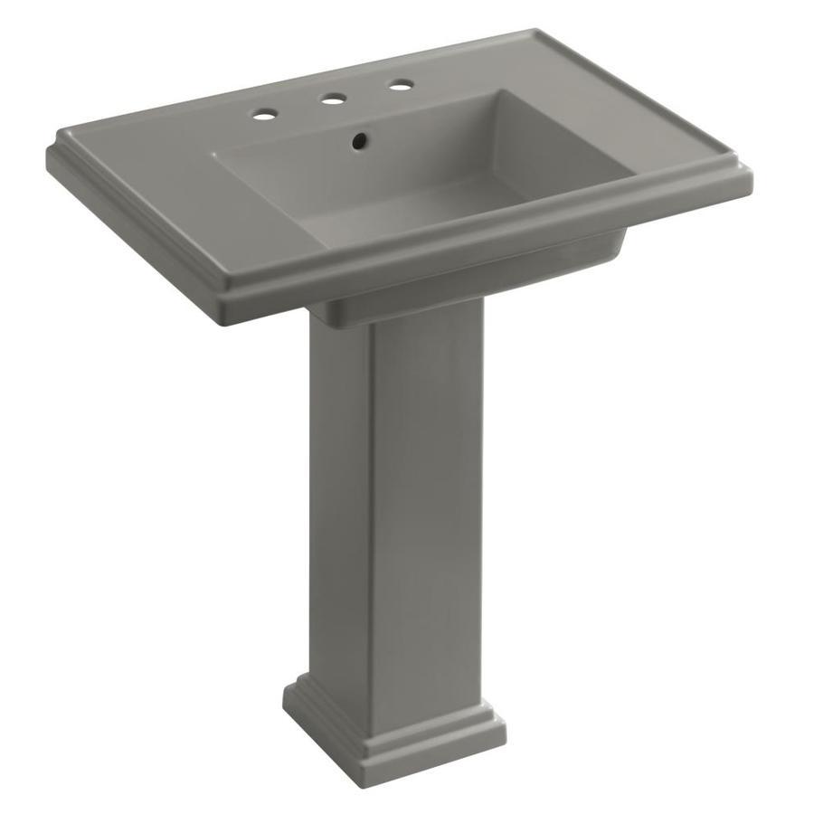 KOHLER Tresham 34.625-in H Cashmere Fire Clay Pedestal Sink