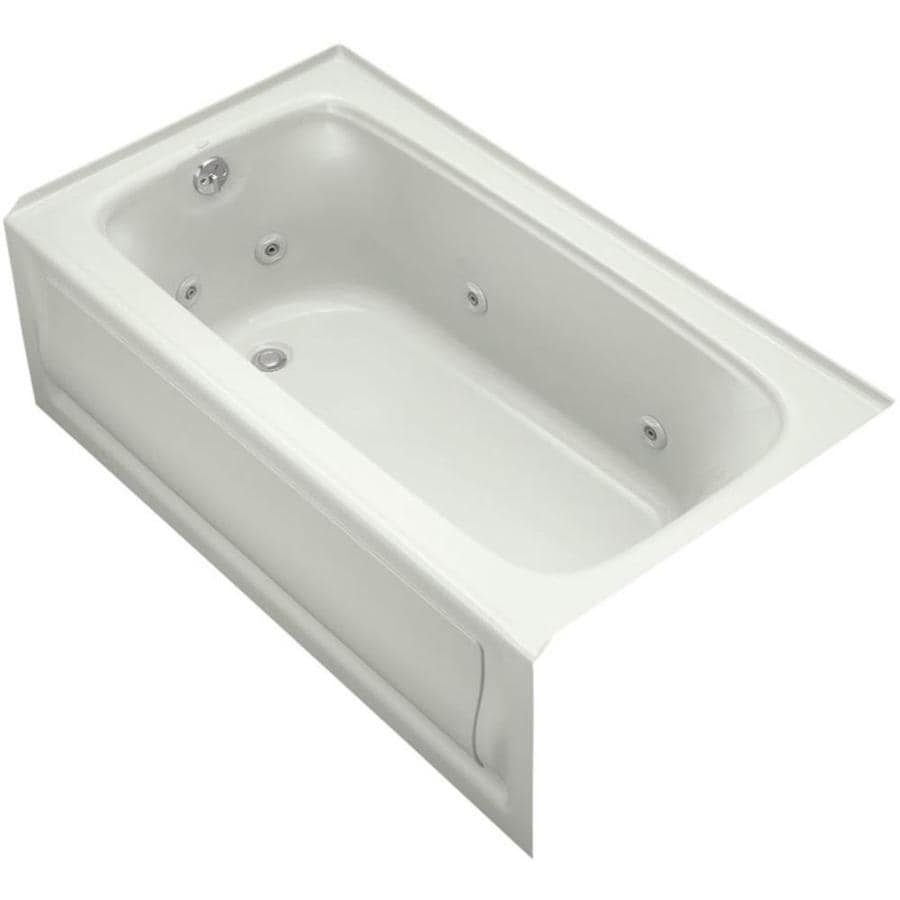 KOHLER Bancroft 60-in Dune Acrylic Alcove Whirlpool Tub with Left-Hand Drain