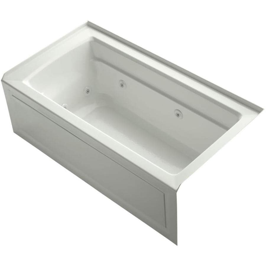 KOHLER Archer 60-in Dune Acrylic Drop-In Whirlpool Tub with Reversible Drain