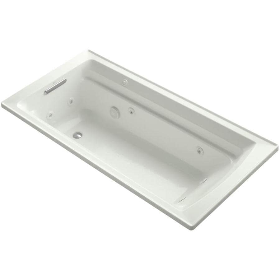 KOHLER Acrher 72-in Dune Acrylic Drop-In Whirlpool Tub with Reversible Drain