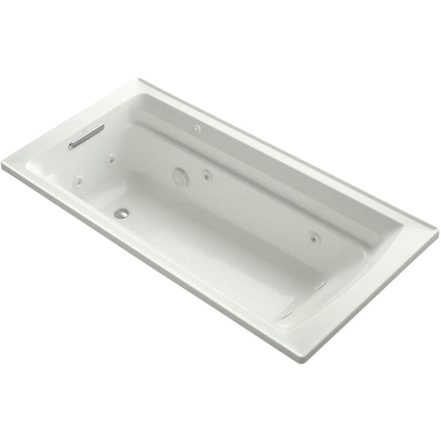 KOHLER Archer 72-in Dune Acrylic Drop-In Whirlpool Tub with Reversible Drain
