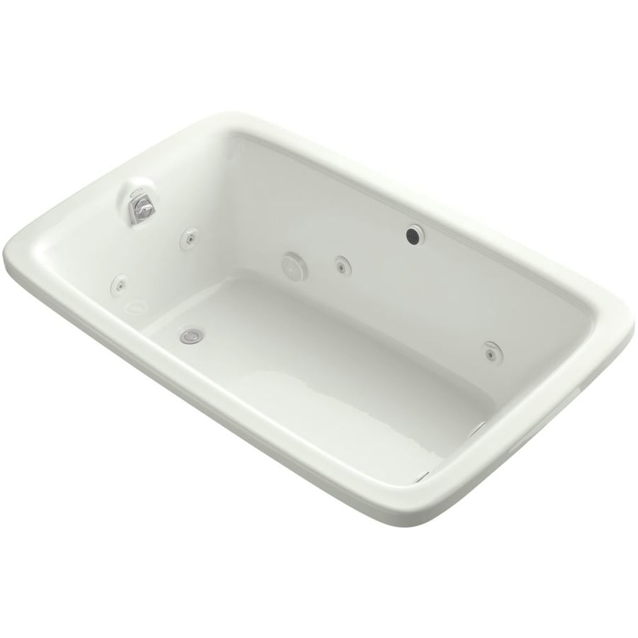 KOHLER Bancroft 66-in Dune Acrylic Alcove Whirlpool Tub with Reversible Drain