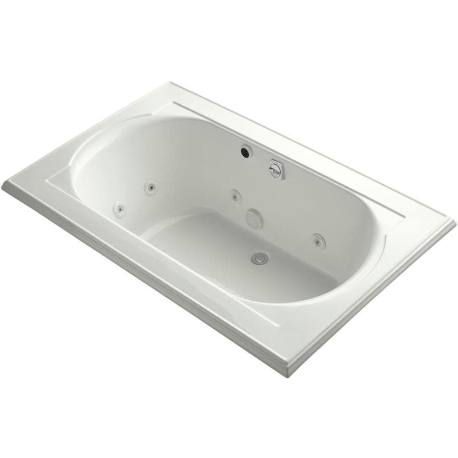 KOHLER Memoirs 66-in Dune Acrylic Drop-In Whirlpool Tub with Back Center Drain