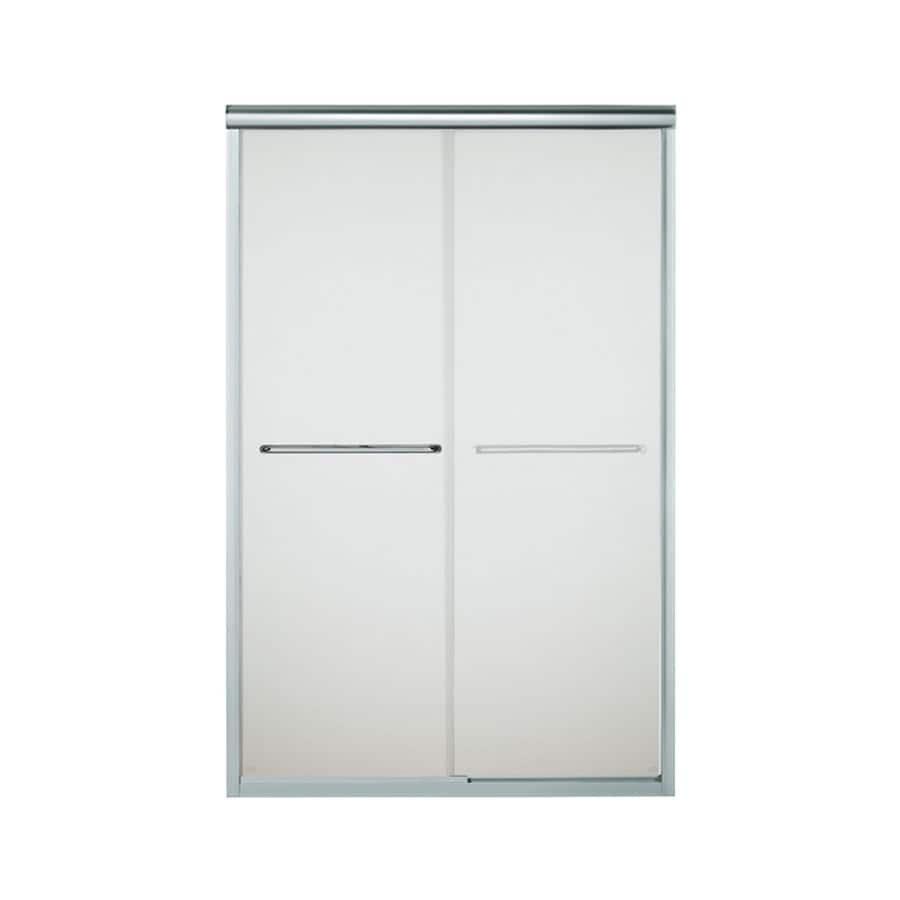 Sterling Finesse 42.6250-in to 47.6250-in Frameless Silver Sliding Shower Door