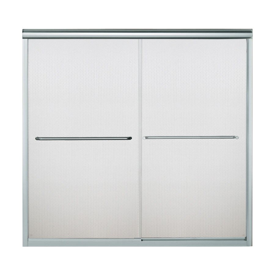 Sterling Finesse 59.625-in W x 58.31-in H Silver Frameless Bathtub Door