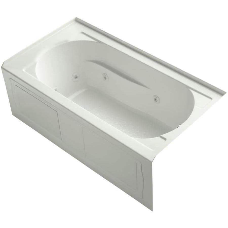 Shop kohler devonshire 60 in dune acrylic alcove whirlpool tub with reversible drain at - Kohler devonshire reviews ...