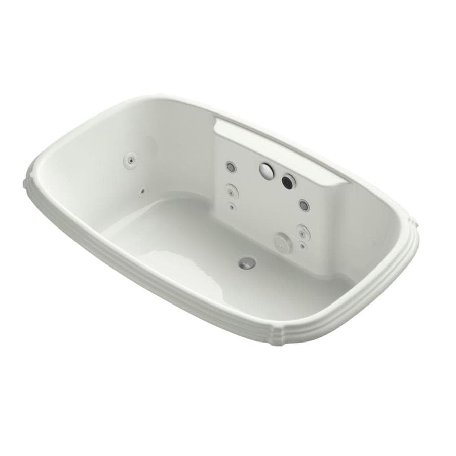 KOHLER Portrait 67-in Dune Acrylic Drop-In Whirlpool Tub with Front Center Drain