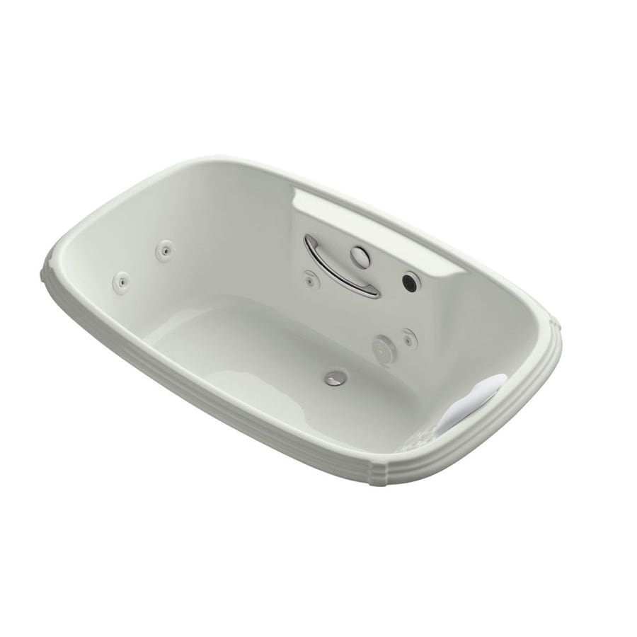 KOHLER Portrait 67-in Dune Acrylic Drop-In Whirlpool Tub with Center Drain