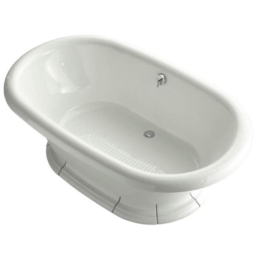 KOHLER Vintage Dune Cast Iron Oval Freestanding Bathtub with Back Center Drain (Common: 42-in x 72-in; Actual: 21.1875-in x 42-in x 72-in)
