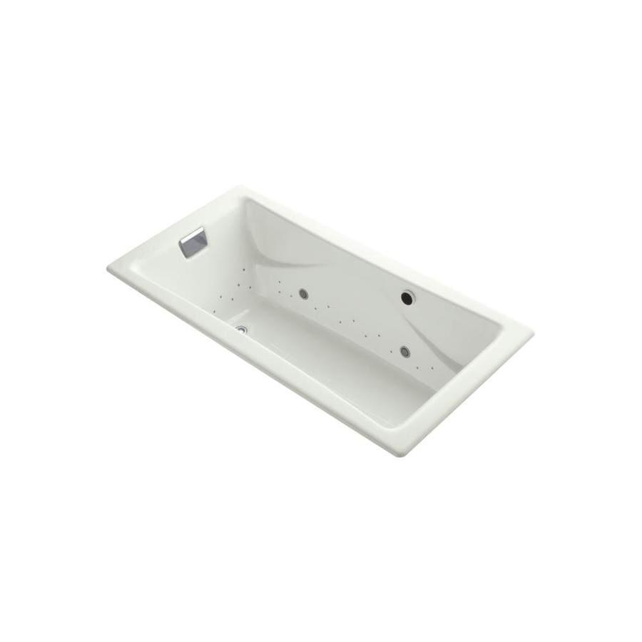 KOHLER Tea-for-Two 71.75-in L x 36-in W x 20.875-in H Dune Cast Iron 2-Person Rectangular Drop-In Air Bath