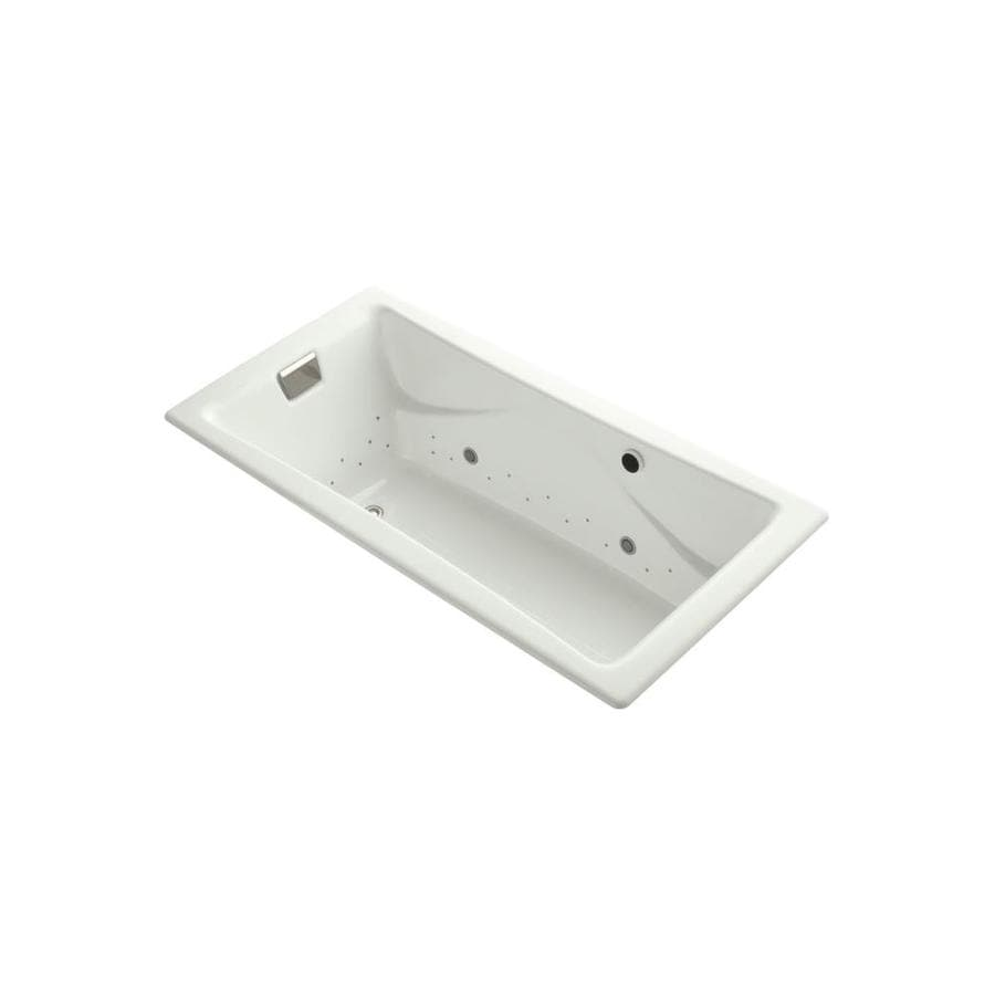 KOHLER Tea-for-Two 71.75-in Dune Cast Iron Drop-In Air Bath with Reversible Drain
