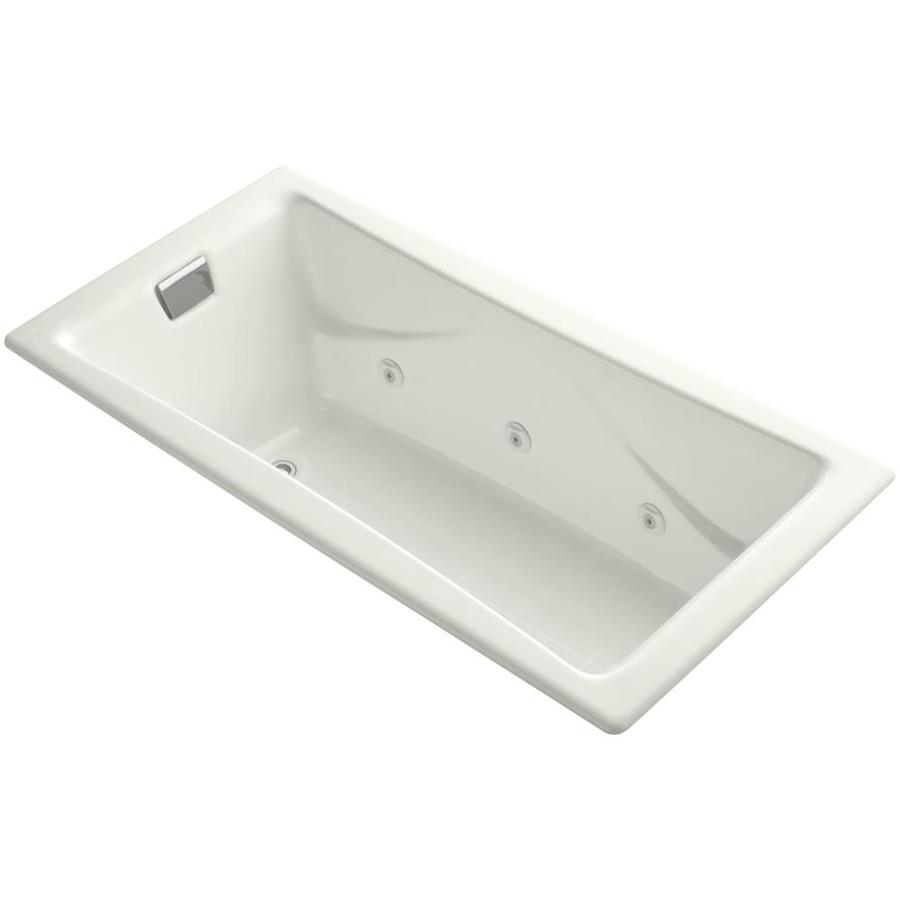 KOHLER Tea-for-Two 71.75-in Dune Acrylic Drop-In Whirlpool Tub with Right-Hand Drain
