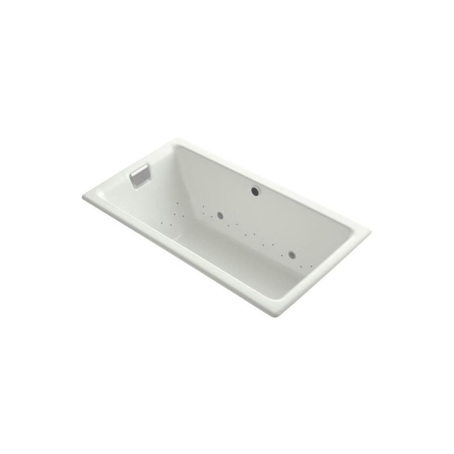 KOHLER Tea-for-Two 66-in L x 36-in W x 24-in H Dune Cast Iron 2-Person Rectangular Drop-In Air Bath