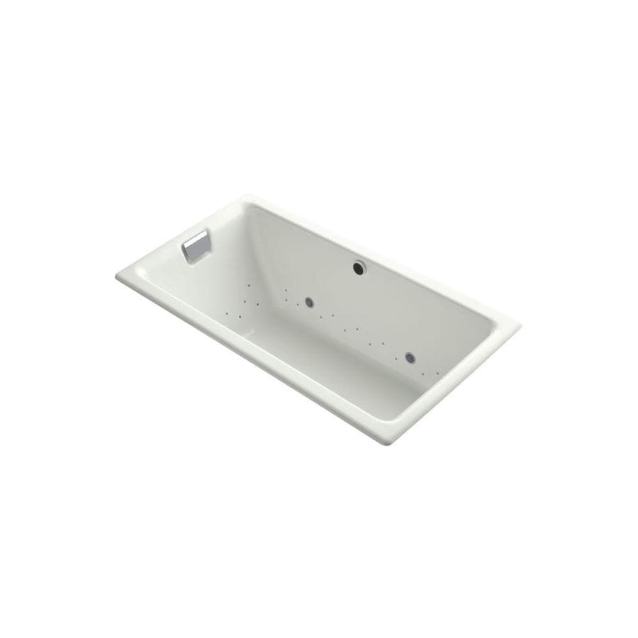 KOHLER Tea-For-Two 66-in L x 36-in W x 24-in H Dune Cast Iron 2-Person Rectangular Drop-in Air Bath