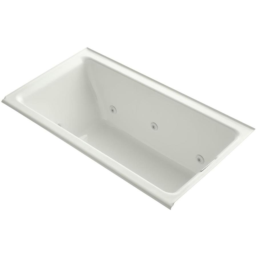 KOHLER Tea-for-Two 66-in Dune Acrylic Alcove Whirlpool Tub with Right-Hand Drain