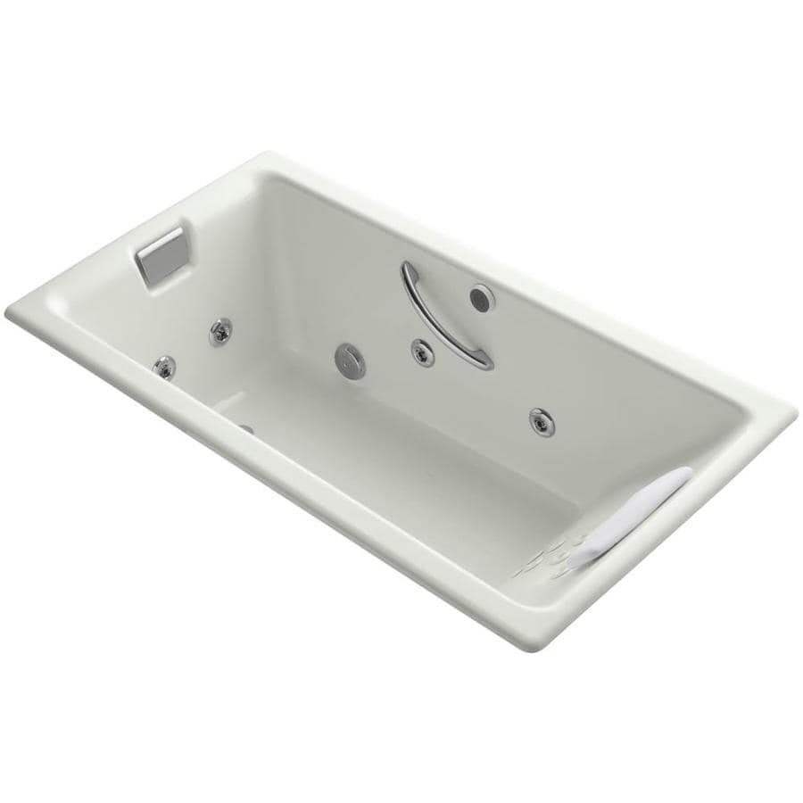KOHLER Tea-For-Two 66-in Dune Acrylic Drop-In Whirlpool Tub with Reversible Drain