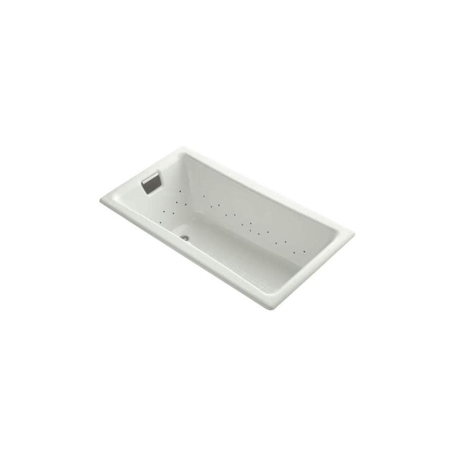 KOHLER Tea-For-Two 60.0000-in L x 32.0000-in W x 18.2500-in H Dune Cast Iron 2-Person Rectangular Drop-in Air Bath
