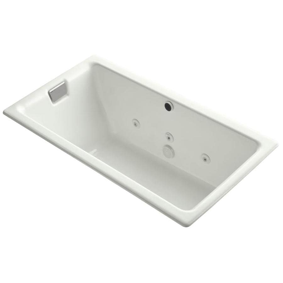 KOHLER Tea-For-Two 66-in Dune Cast Iron Drop-In Bathtub with Reversible Drain