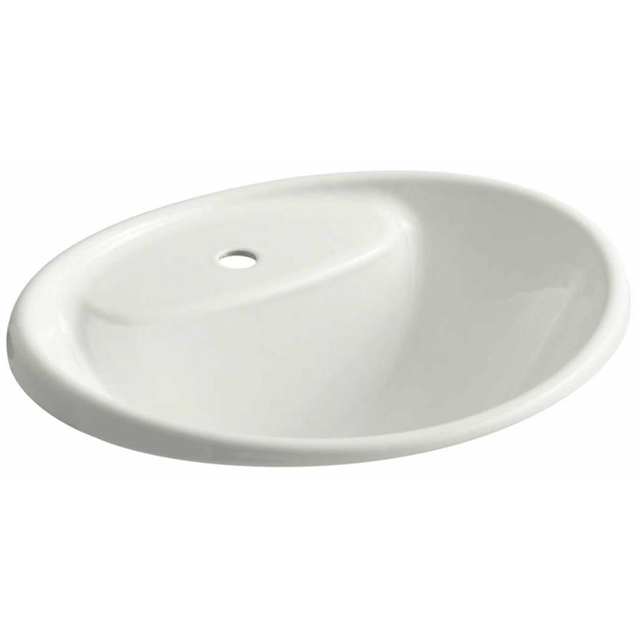 KOHLER Tides Dune Cast Iron Drop-in Oval Bathroom Sink with Overflow