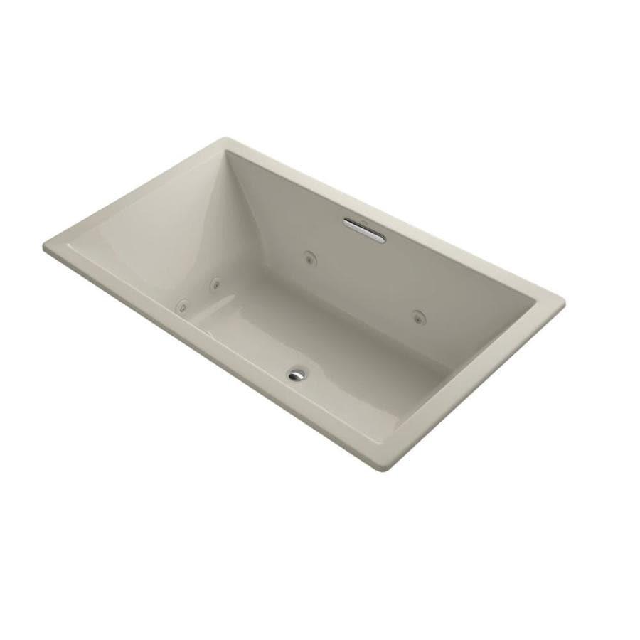 KOHLER Underscore Sandbar Acrylic Rectangular Whirlpool Tub (Common: 42-in x 72-in; Actual: 23-in x 42-in x 72-in)