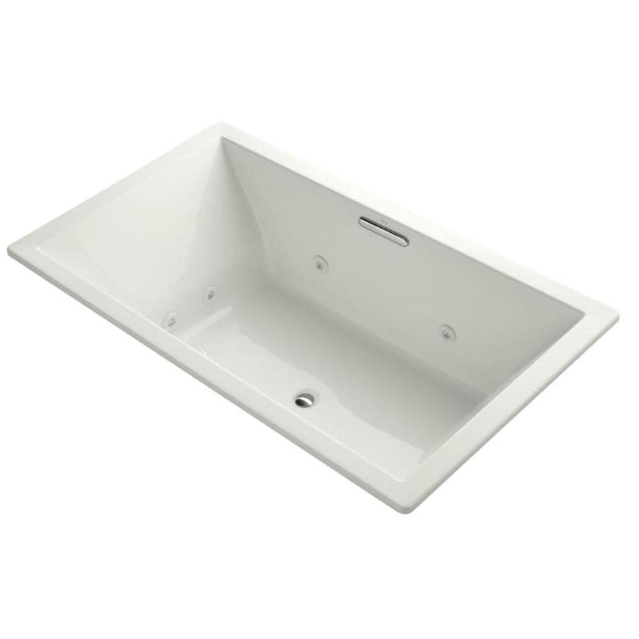 KOHLER Underscore 72-in Dune Acrylic Drop-In Whirlpool Tub with Center Drain