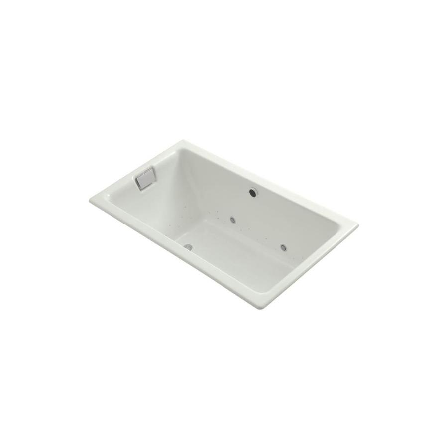 KOHLER Tea-for-Two 66-in Dune Cast Iron Drop-In Air Bath with Reversible Drain
