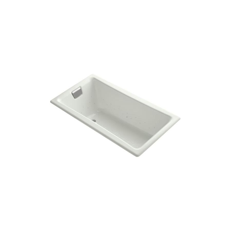 KOHLER Tea-for-Two 60-in Dune Cast Iron Drop-In Air Bath with Reversible Drain