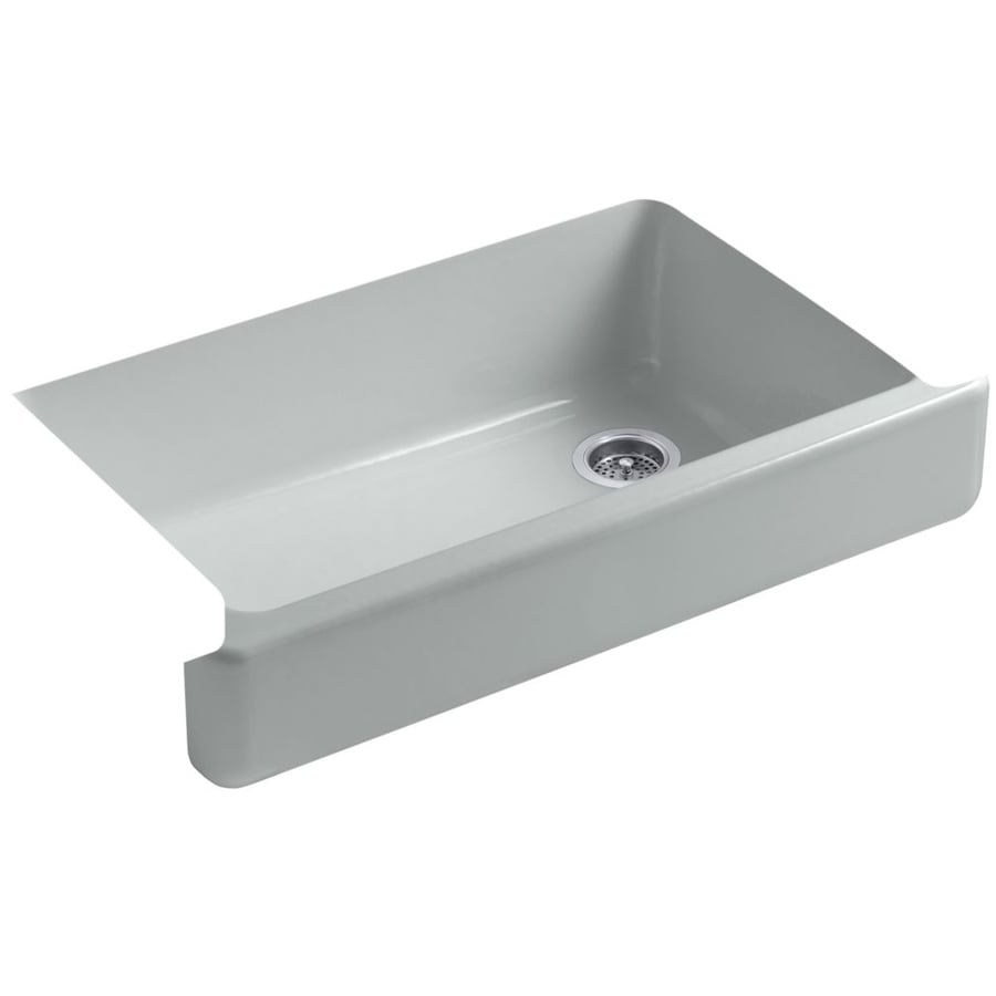 KOHLER Whitehaven 21.5625-in x 35.5-in Ice Grey Single-Basin Cast Iron Apron Front/Farmhouse Residential Kitchen Sink