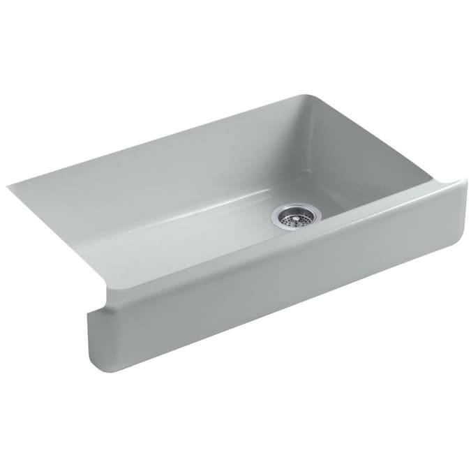 Kohler Whitehaven Drop In Apron Front Farmhouse 35 5 In X 21 56 In Ice Grey Single Bowl Kitchen Sink In The Kitchen Sinks Department At Lowes Com