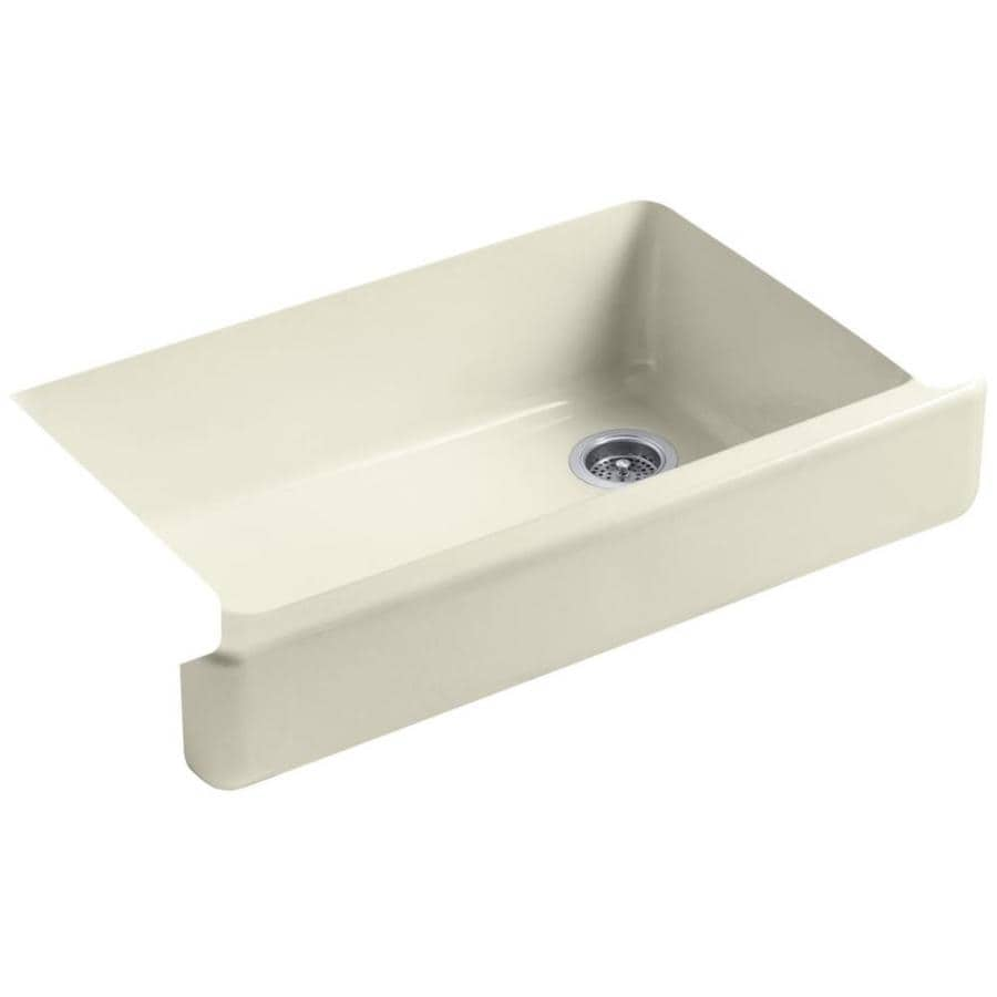 KOHLER Whitehaven 21.56-in x 35.5-in Cane Sugar 1 Cast Iron Apron Front/Farmhouse (Customizable)-Hole Residential Kitchen Sink