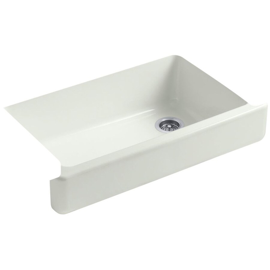 KOHLER Whitehaven 21.5625-in x 35.5-in Dune Single-Basin Cast Iron Apron Front/Farmhouse Residential Kitchen Sink