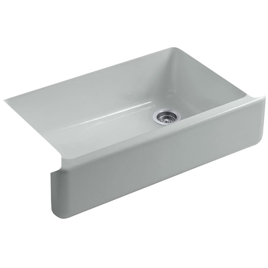 KOHLER Whitehaven 21.5625-in x 35.5-in Ice Grey 1 Cast Iron Apron Front/Farmhouse (Customizable)-Hole Residential Kitchen Sink