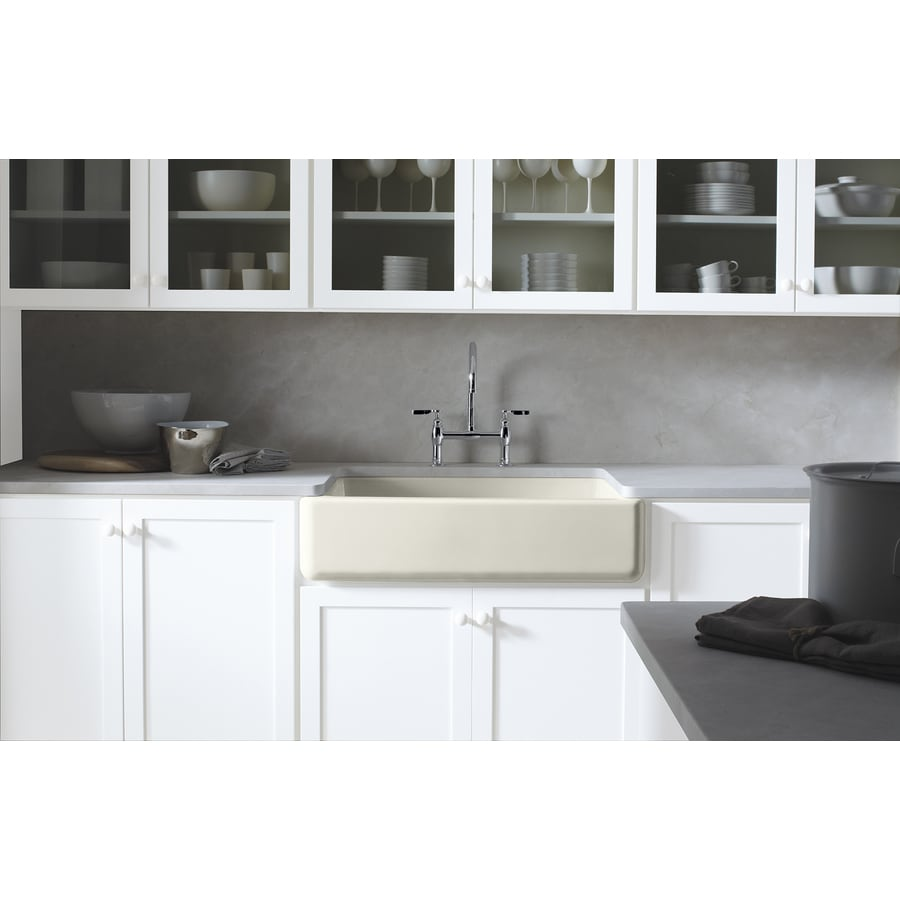 Shop kohler whitehaven x 35 5 in biscuit single for Cast iron sink manufacturers