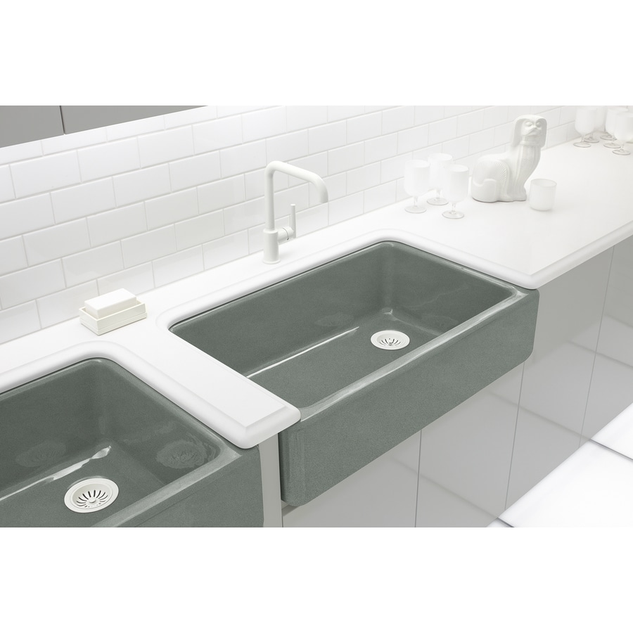 KOHLER Whitehaven 21.5625-in x 35.5-in Basalt Single-Basin Cast Iron Apron Front/Farmhouse Residential Kitchen Sink
