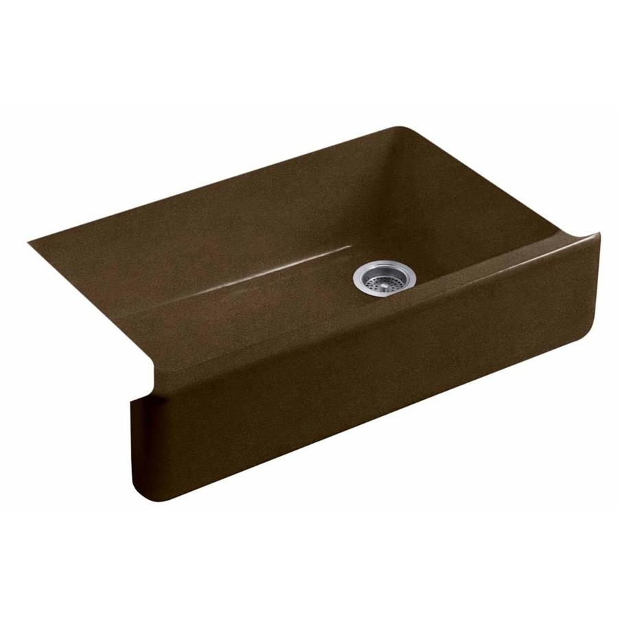 KOHLER Whitehaven 21.5625-in x 35.6875-in Black N-ft Tan 1 Cast Iron Apron Front/Farmhouse (Customizable)-Hole Residential Kitchen Sink