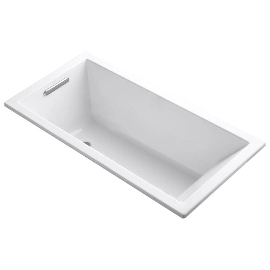 Shop KOHLER Underscore 60-in White Acrylic Drop-In Bathtub with ...
