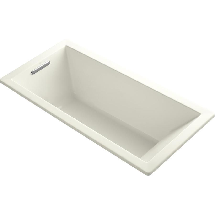 KOHLER Underscore 66-in Biscuit Acrylic Drop-In Bathtub with Reversible Drain