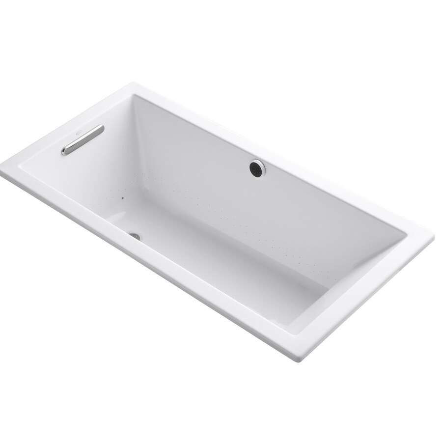 KOHLER Underscore 60-in White Acrylic Drop-In Air Bath with Reversible Drain