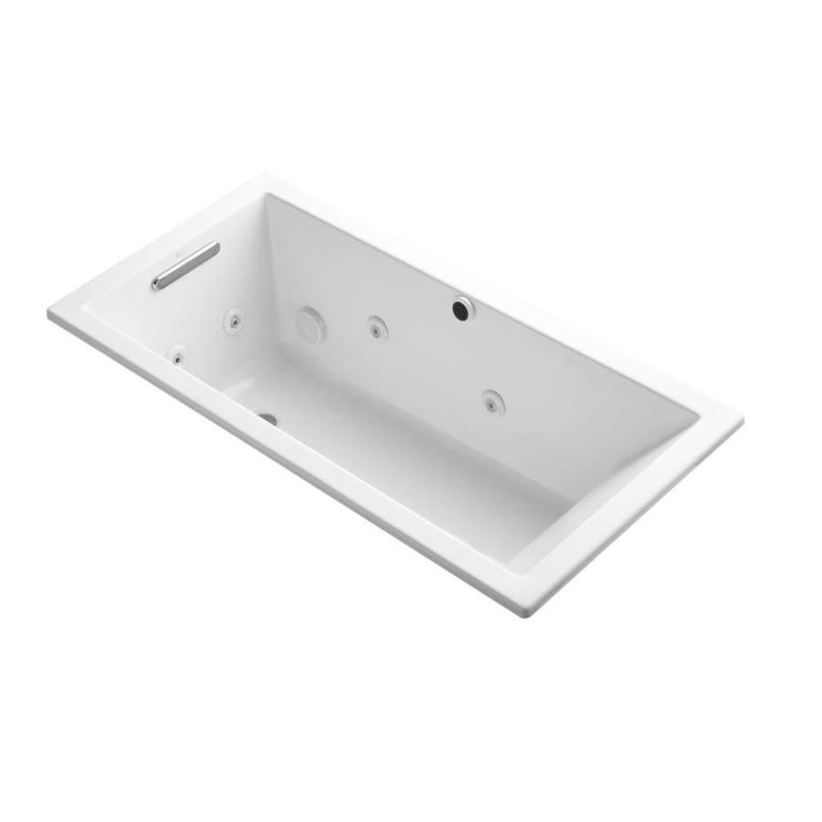 KOHLER Underscore 60-in White Acrylic Drop-In Whirlpool Tub with Reversible Drain