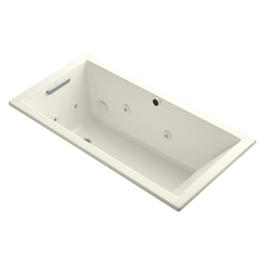KOHLER Underscore Biscuit Acrylic Rectangular Whirlpool Tub (Common: 30-in x 60-in; Actual: 19-in x 30-in x 60-in)