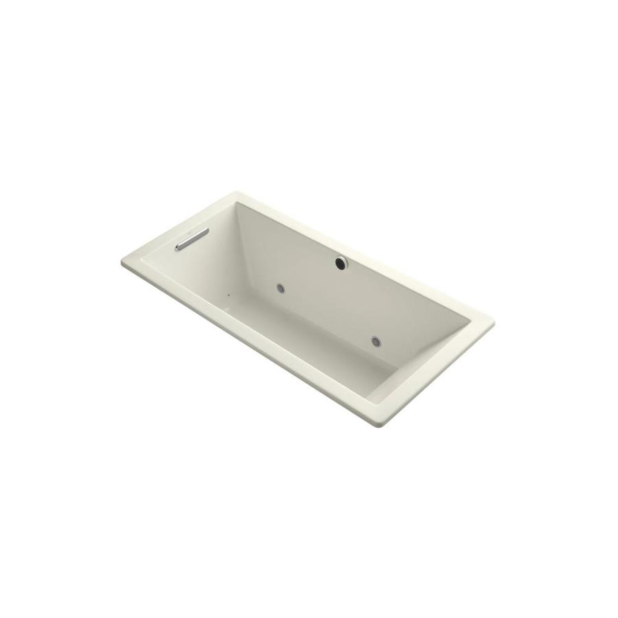 KOHLER Underscore 66-in Biscuit Acrylic Drop-In Air Bath with Reversible Drain