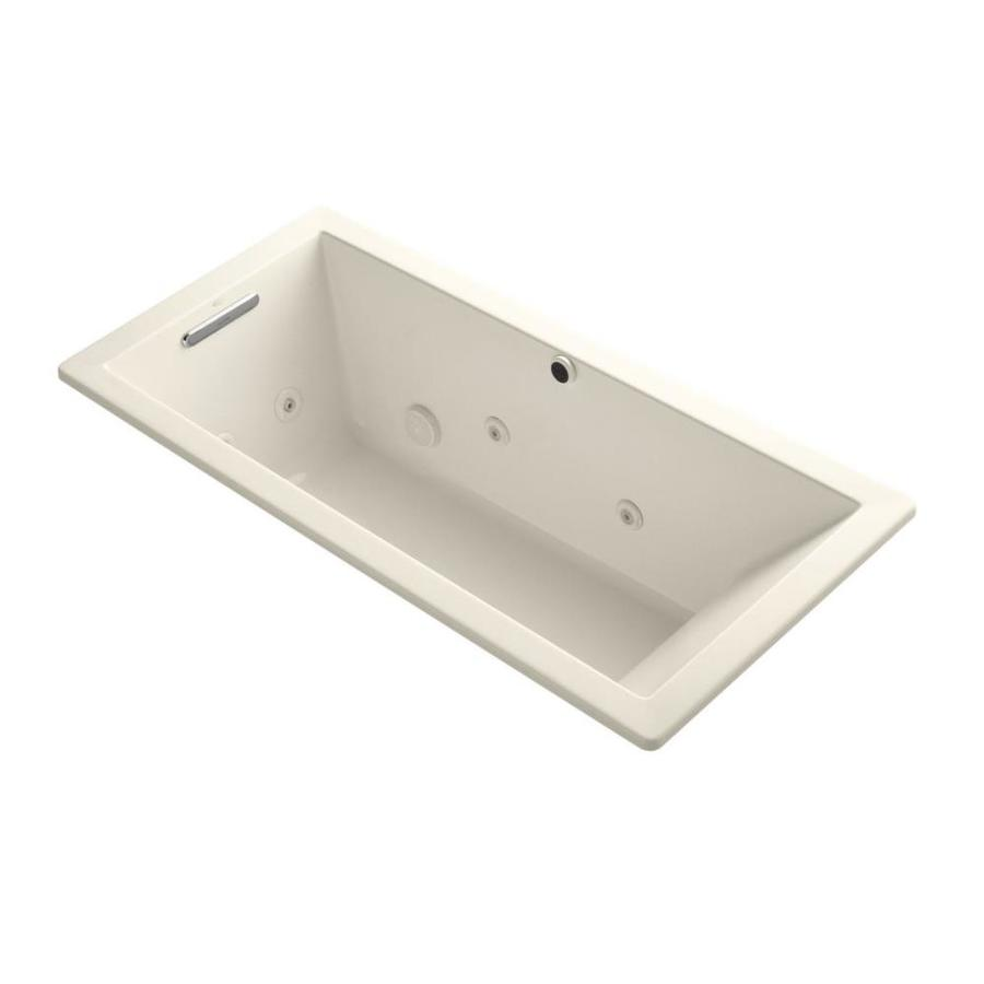 KOHLER Underscore 66-in Almond Acrylic Drop-In Whirlpool Tub with Reversible Drain