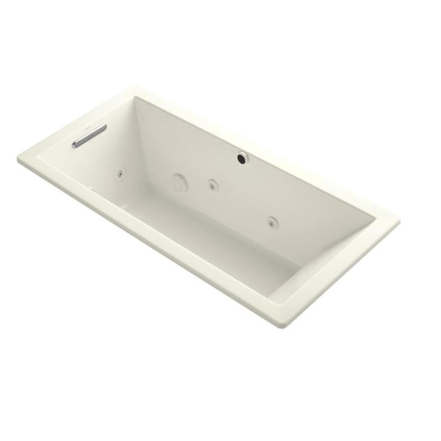 KOHLER Underscore 66-in Biscuit Acrylic Drop-In Whirlpool Tub with Reversible Drain