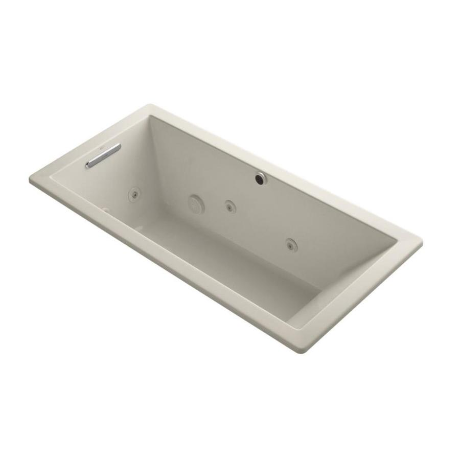 KOHLER Underscore 66-in Sandbar Acrylic Drop-In Whirlpool Tub with Reversible Drain
