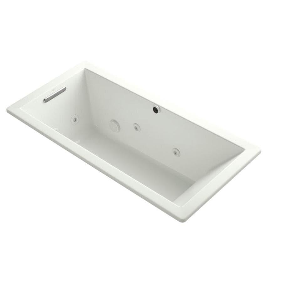 KOHLER Underscore 66-in Dune Acrylic Drop-In Whirlpool Tub with Reversible Drain