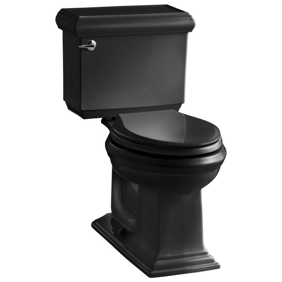 KOHLER Memoirs Black Black  Elongated Chair Height 2-piece Toilet 12-in Rough-In Size