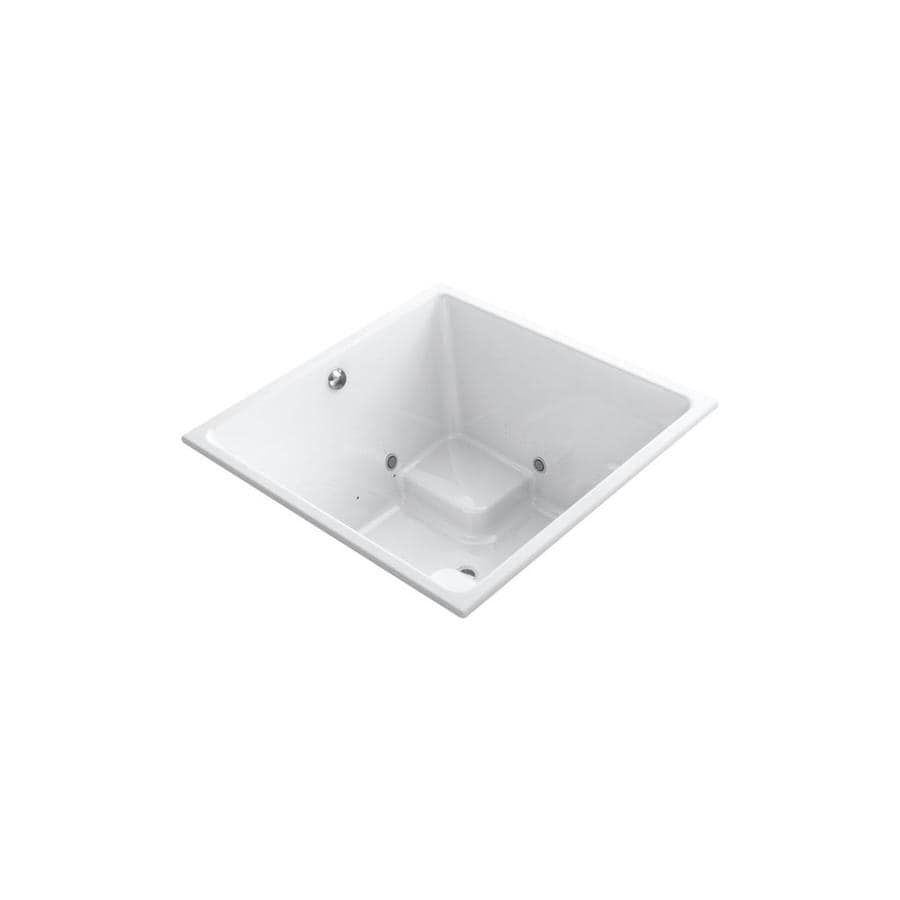 KOHLER Underscore 48-in White Acrylic Drop-In Air Bath with Front Center Drain