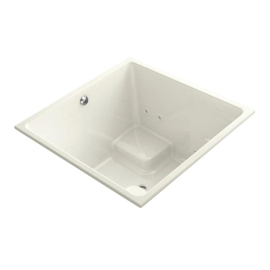 KOHLER Underscore 48-in Biscuit Acrylic Drop-In Whirlpool Tub with Center Drain