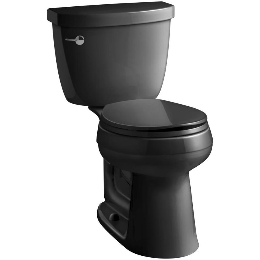 KOHLER Cimarron Black Black WaterSense Labeled  Round Chair Height 2-piece Toilet 12-in Rough-In Size